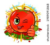 tomato cheerful smile. juicy... | Shutterstock .eps vector #1989091868