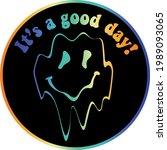 retro distorted melting smiley...   Shutterstock .eps vector #1989093065
