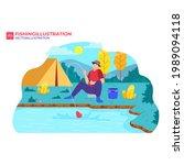 outdoor recreation. fishing... | Shutterstock .eps vector #1989094118