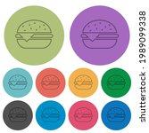 single cheeseburger darker flat ... | Shutterstock .eps vector #1989099338