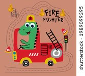 dinosaur the fire fighter funny ... | Shutterstock .eps vector #1989099395