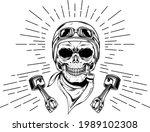 racing skull hand drawn vector | Shutterstock .eps vector #1989102308