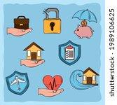 set of icons insurance cartoon | Shutterstock .eps vector #1989106625