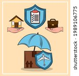 insurance such as a travel... | Shutterstock .eps vector #1989106775