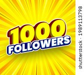 1000 followers banner. vector...   Shutterstock .eps vector #1989113798