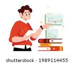 online class  e learning ...   Shutterstock .eps vector #1989114455
