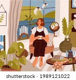 young woman sitting and...   Shutterstock .eps vector #1989121022