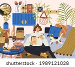 young relaxed woman writing... | Shutterstock .eps vector #1989121028