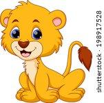 cute baby lion cartoon | Shutterstock .eps vector #198917528