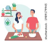 young loving couple cooking... | Shutterstock .eps vector #1989179945