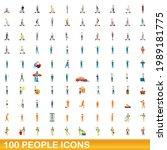 100 people icons set. cartoon... | Shutterstock .eps vector #1989181775