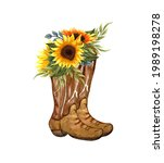 Watercolor Flowers In Boots....