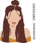 abstract brunette girl with a...   Shutterstock .eps vector #1989252392