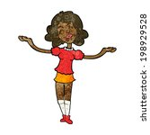 cartoon woman taking praise | Shutterstock . vector #198929528