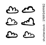 set of funny clouds in line art ...   Shutterstock . vector #1989349982