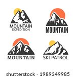 hand drawn mountain isolated. ...   Shutterstock . vector #1989349985
