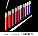 Test tubes with color changing reaction going on - stock vector