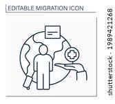 humanitarian visa line icon.... | Shutterstock .eps vector #1989421268