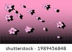 cherry blossom petals on pink... | Shutterstock .eps vector #1989456848