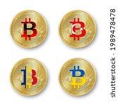 four golden bitcoin coins with... | Shutterstock .eps vector #1989478478