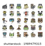 set of football thin line and... | Shutterstock .eps vector #1989479315