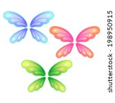vector set of butterfly wings | Shutterstock .eps vector #198950915