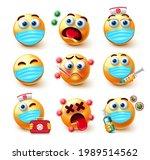 covid 19 emoji vector set....   Shutterstock .eps vector #1989514562