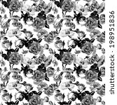 Monochrome Seamless Pattern with Vintage Roses - stock vector