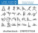 yoga pose vector icon set.... | Shutterstock .eps vector #1989557018