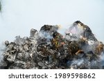 Open Landfill Site With Burning ...