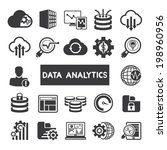 data analytics icons set  big... | Shutterstock .eps vector #198960956