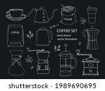 hand drawn vector coffee set. ... | Shutterstock .eps vector #1989690695