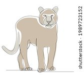puma one continuous line...   Shutterstock .eps vector #1989723152