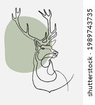 continuous line drawing. deer...   Shutterstock .eps vector #1989743735