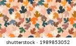 grunge leaves pattern. black...   Shutterstock .eps vector #1989853052
