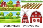farm element set isolated with... | Shutterstock .eps vector #1989909452
