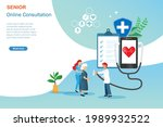 online doctor consultaion ...   Shutterstock .eps vector #1989932522