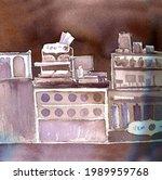 watercolor drawing sketch of...   Shutterstock . vector #1989959768
