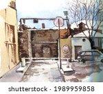 watercolor drawing city...   Shutterstock . vector #1989959858