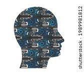 electronic head.artificial... | Shutterstock .eps vector #1989981812