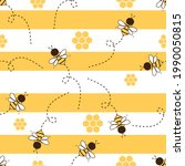 seamless pattern with bee...   Shutterstock .eps vector #1990050815
