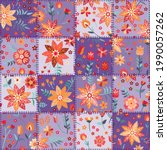 patchwork seamless pattern with ... | Shutterstock .eps vector #1990057262