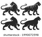 set of stylized silhouettes of... | Shutterstock .eps vector #1990072598
