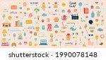 weekly planner stickers. doodle ... | Shutterstock .eps vector #1990078148