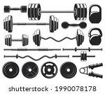 gym heavy weight equipment.... | Shutterstock .eps vector #1990078178