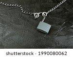 Unlocked Padlock With Chain On ...