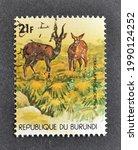 Small photo of Burundi - circa 1977 : Cancelled postage stamp printed by Burundi, that shows Thomson's Gazelle (Gazella granti), circa 1977.