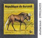 Small photo of Burundi - circa 1975 : Cancelled postage stamp printed by Burundi, that shows Black wildebeest, circa 1975.
