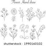 flower hand drawn botanical...   Shutterstock .eps vector #1990160102