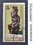 Small photo of Burundi - circa 1967 : Cancelled postage stamp printed by Burundi, that shows Sculpture of King Kata-Mbula, circa 1967.